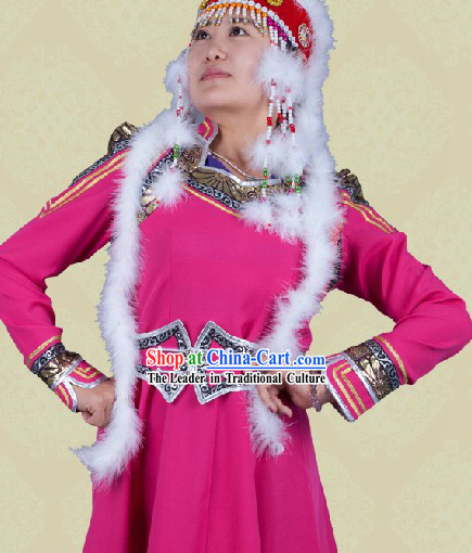 Traditional Chinese Mongolian Suit and Hat Complete Set for Women