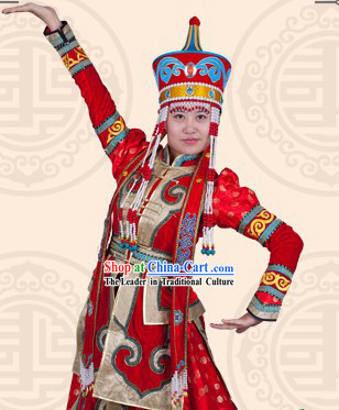 Traditional Chinese Mongolian Ordos Dresses and Hat Complete Set for Women