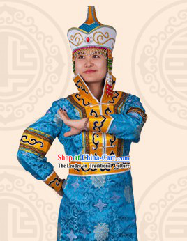 Traditional Chinese Mongolian Stage Performance Dance Costume and Hat for Women