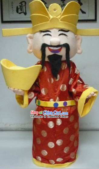 Traditional Chinese Red Cai Shen Costume and Hat Complete Set