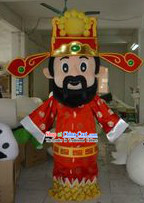 Traditional Chinese Red Cai Shen Outfits and Hat Complete Set
