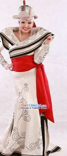 Chinese Traditional Mongolian Clothes and Hat for Women