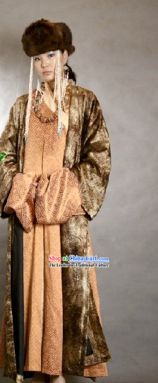 Traditional Mongolian Empress Clothes and Hat Complete Set for Women