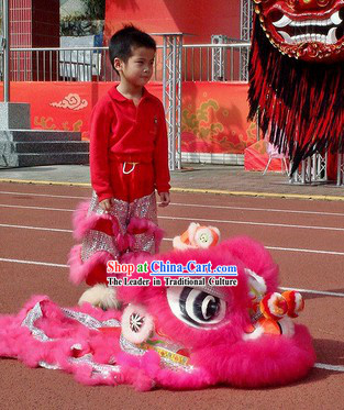 Children Size Pink Fur Lion Dance Costumes Complete Set