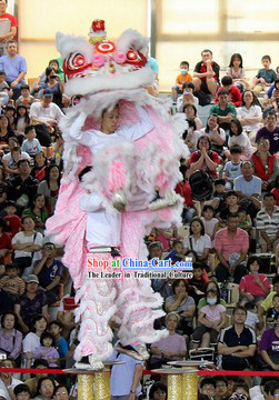 Chinese Year White Pink Southern Professional Lion Dance Costume