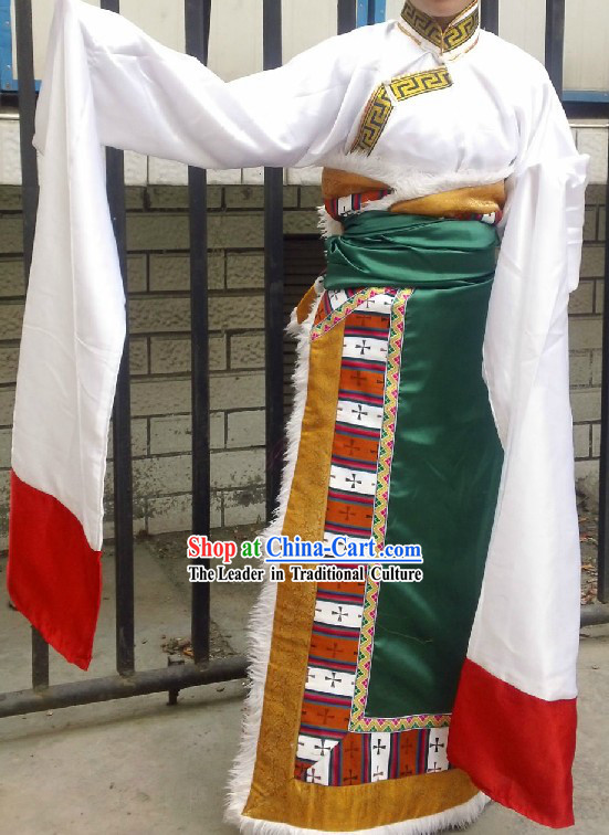Long Sleeve White Tibetan Dancing Costumes for Women