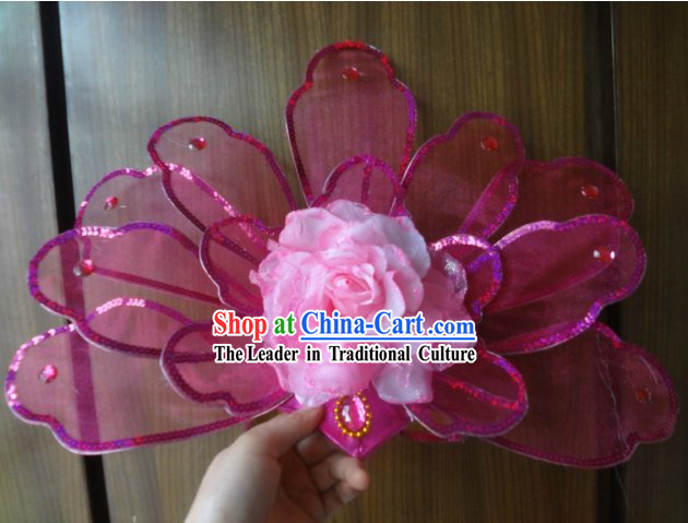 Chinese Big Pink Flower Dance Hat