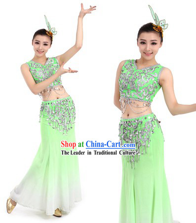 Chinese Dai Ethnic Costumes and Headpiece for Women
