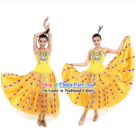 Yellow Peacock Dance Costume and Hat for Women