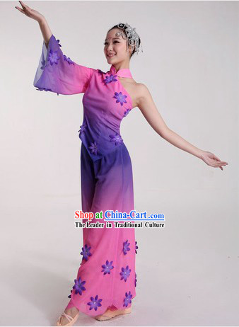 Purple Chinese Color Transition Dance Costumes and Headpiece for Ladies