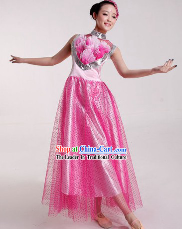 Chinese Pink Chorus and Lotus Dance Costumes and Headpiece for Ladies