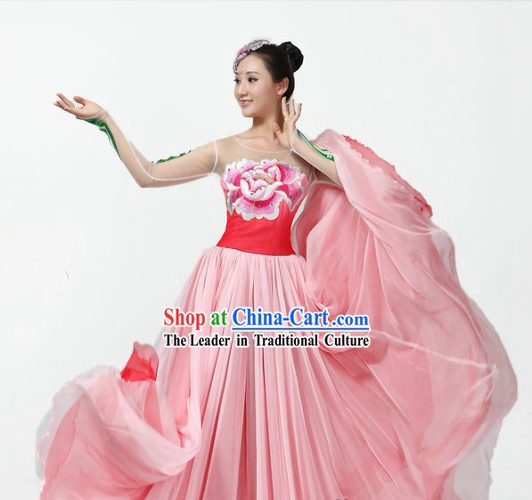 Chinese Classical Peony Long Skirt Dance Costumes and Headpiece