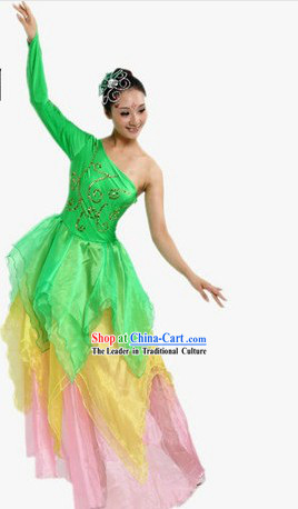 One Shoulder Green Stage Performance Dancing Costumes and Headpiece for Women