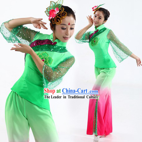 School Fan or Ribbon Dance Costume and Headpiece for Women