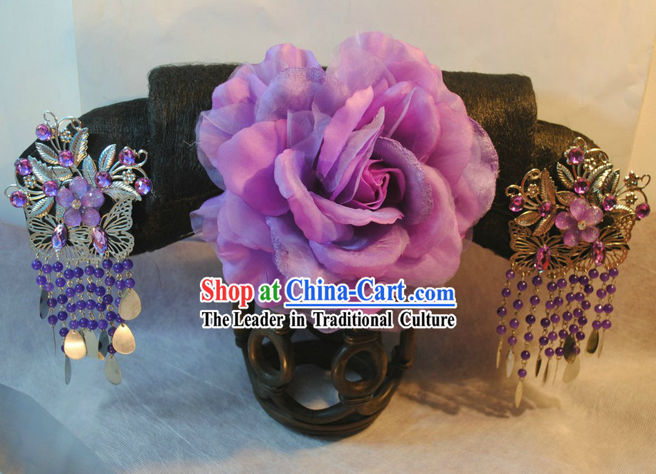 Qing Dynasty Chinese Palace Empress Wig and Hair Accessories Set for Women