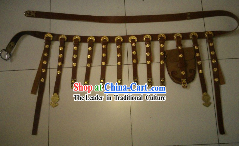 Ancient Chinese Handmade Leather Hanfu Clothing Belt for Men