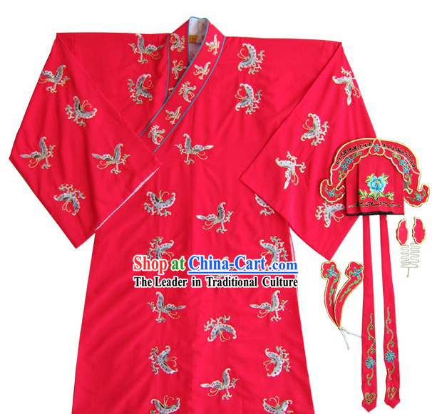 Red Chinese Peking Opera Embroidered Butterfly Costumes and Hat for Men