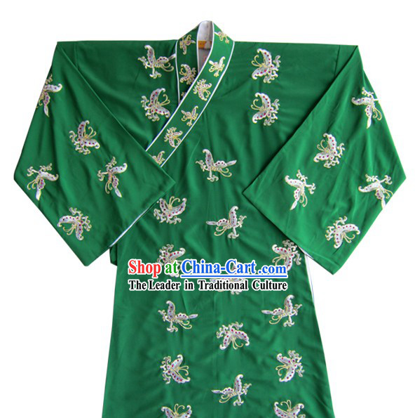 Green Chinese Peking Opera Embroidered Butterfly Costume and Hat for Men