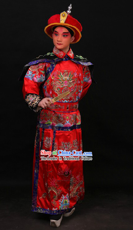 Red Chinese Embroidered Dragon Qian Long Costumes and Hat for Men