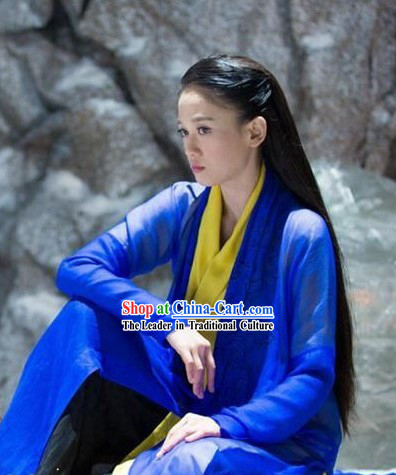 Ancient Chinese Blue Knight Women Costumes