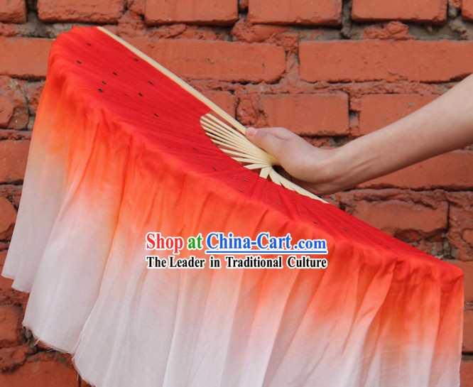 Double Sides Red to White Color Transition Silk Dance Fan