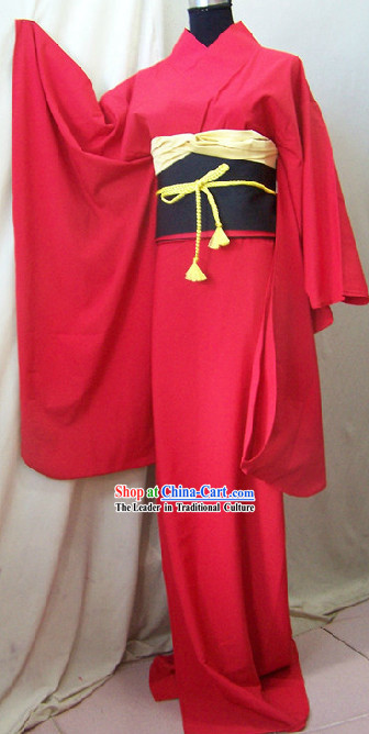 Traditional Japanese Red Kimono Complete Set for Women