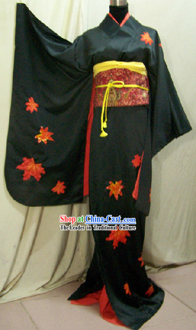Traditional Japanese Dancer Kimono Costume Complete Set for Women