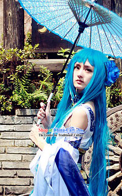 Blue Chinese Style Magic Cosplay Long Wig