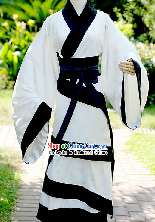 Traditional Chinese White and Black Hanfu Clothing