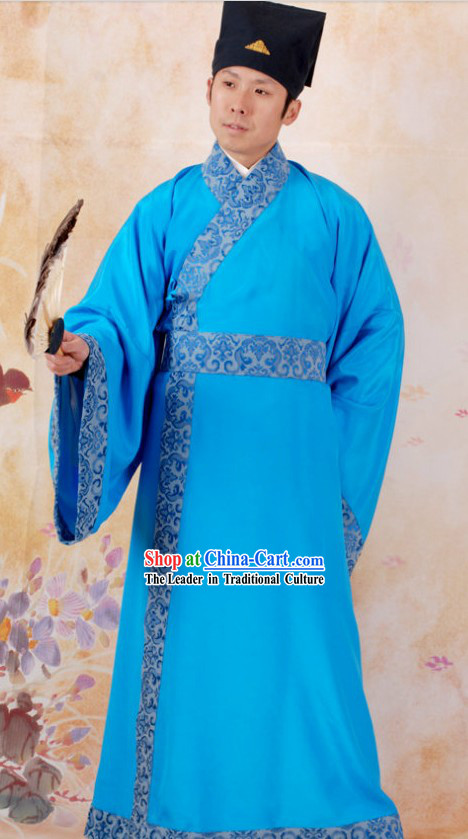 Ancient Chinese Blue Costumes and Hat for Men