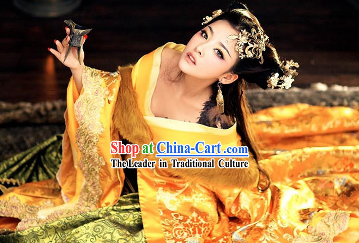 Ancient Chinese Imperial Priness Royal Clothes and Hair Accessories Complete Set for Women