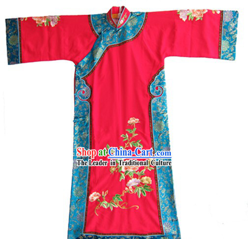 Traditional Chinese Opera Red Manchu Qing Dynasty Cheongsam Qipao for Women