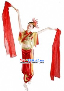 Chinese Fan Dance Costumes and Headdress for Women