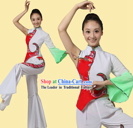 Traditional Chinese Fan or Ribbon Dance Costumes and Headpiece for Women
