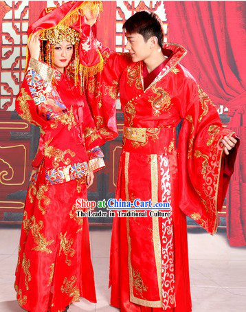 Ancient Chinese Red Wedding Dresses Two Complete Sets