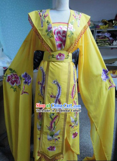 Ancient Chinese Yellow Phoenix Embroidery Costumes for Women