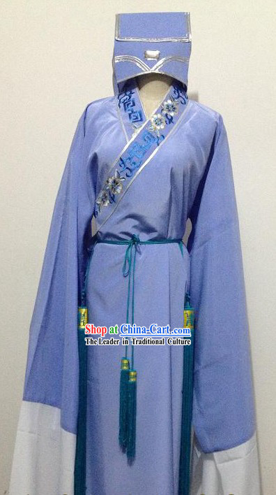 Ancient Chinese Purple Xiao Sheng Young Men Costumes and Hat for Men