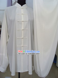 Traditional Chinese White Silk Tai Ji Clothing