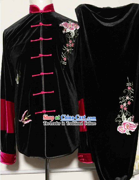 Traditional Chinese Velvet Embroidery Tai Chi Kung Fu Competition Uniforms