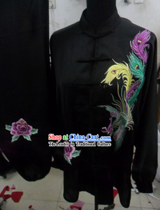 Traditional Chinese Long Sleeves Black Phoenix Kung Fu Uniforms