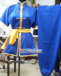 Traditional Chinese Blue Silk Martial Arts Practice Clothing
