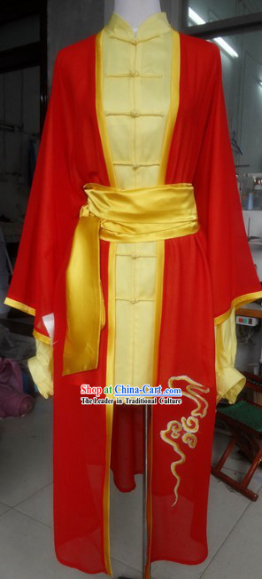 Traditional Chinese Red Gong Fu Costumes, Pants and Veil