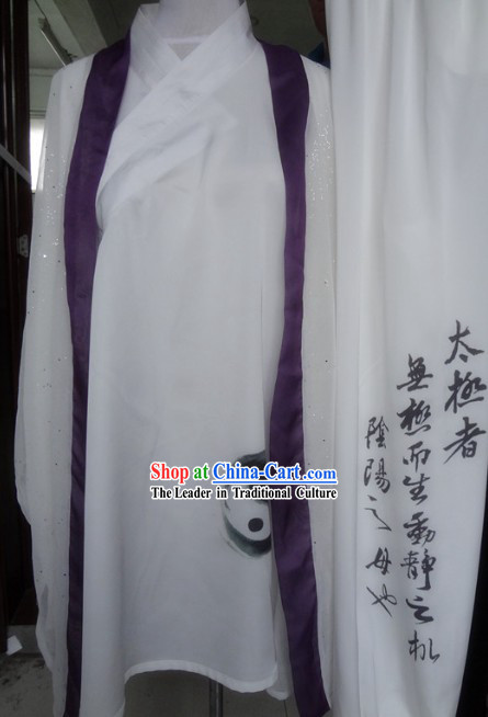 Ancient Chinese White Silk Tai Chi Tai Ji Uniform and Cape Complete Set