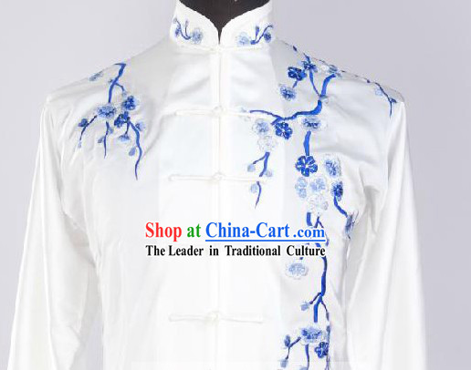 Traditional Chinese White Plum Blossom Embroidery Kung Fu Uniforms