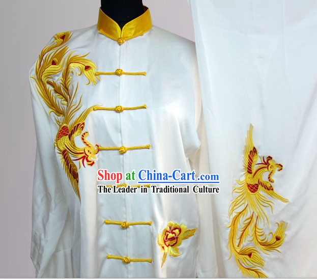 Traditional Chinese Short Sleeves Embroidered Phoenix Kung Fu Clothes