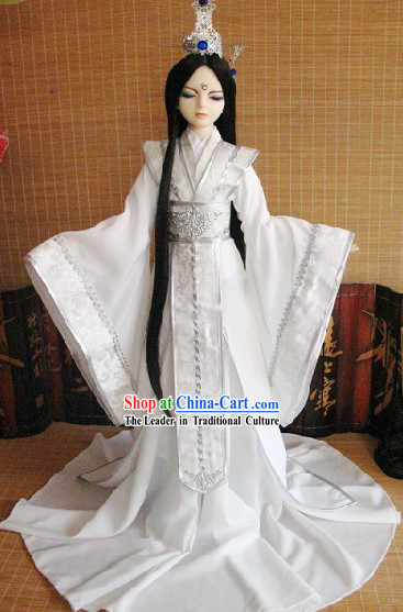 Ancient Chinese White Hanfu Clothing and Coronet for Men