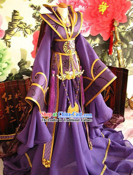 Ancient Chinese Purple Hanfu Clothes for Men