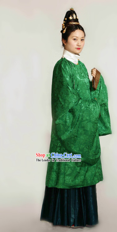 Ancient Chinese Ming Dynasty Green Robe Clothing Complete Set for Women