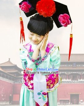 Beijing Imperial Palace Lady Costume and Hat for Kids