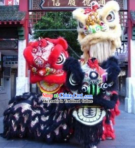 Traditional Chinese Red, Black and Golden Lion Dancing Costumes Three Sets